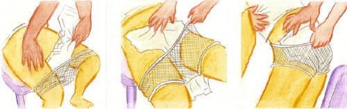 Cambio de pañales Pañales con malla (anatómicos y rectangulares): posición sentado o en silla de ruedas