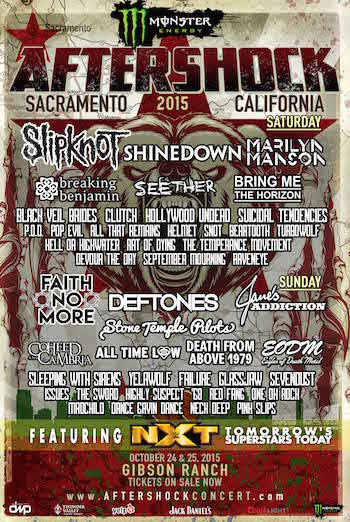 Monster Energy AFTERSHOCK Festival flyer with band lineup and venue information