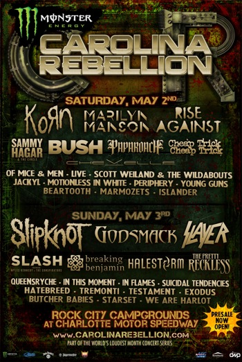 Monster Energy Carolina Rebellion flyer with daily band lineup and venue information
