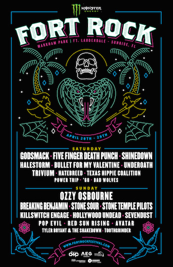 Monster Energy Fort Rock flyer with band lineup and venue details