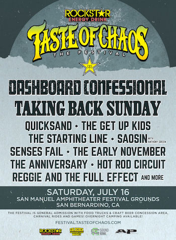 Rockstar Energy Drink Taste Of Chaos Festival flyer with band lineup and venue details