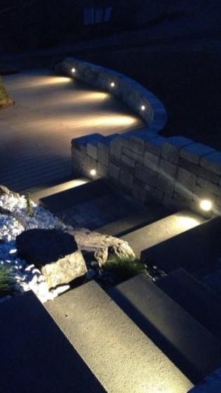 Eclairage intégré au muret de terrasse et escalier, Epinal