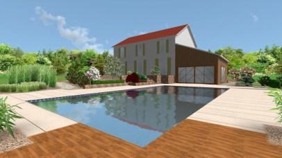 Projet 3D : vue globale piscine et aménagement paysager