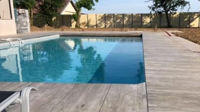 Entourage de piscine inox en grès cérame