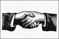 vintage drawing of a handshake,symbolizing why we have reviews with clients