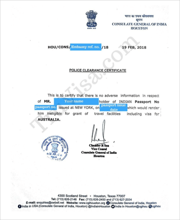 Indian Police Clearance Certificate Embassy Pcc Am22 Tech