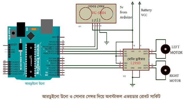 অবস্টাকল এভয়ডার রোবট সার্কিট ডায়াগ্রাম রোবট রোবট তৈরি - আরডুইনো ও আলট্রাসনিক সেন্সর দিয়ে অবস্টাকল এভয়ডার obstacle avoider robot circuit diagram