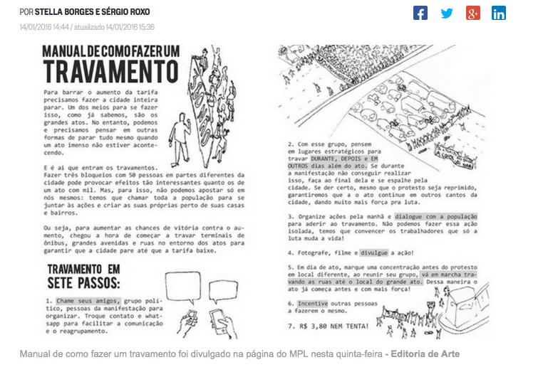 Em dia de protestos em SP, MPL divulga manual de como travar vias