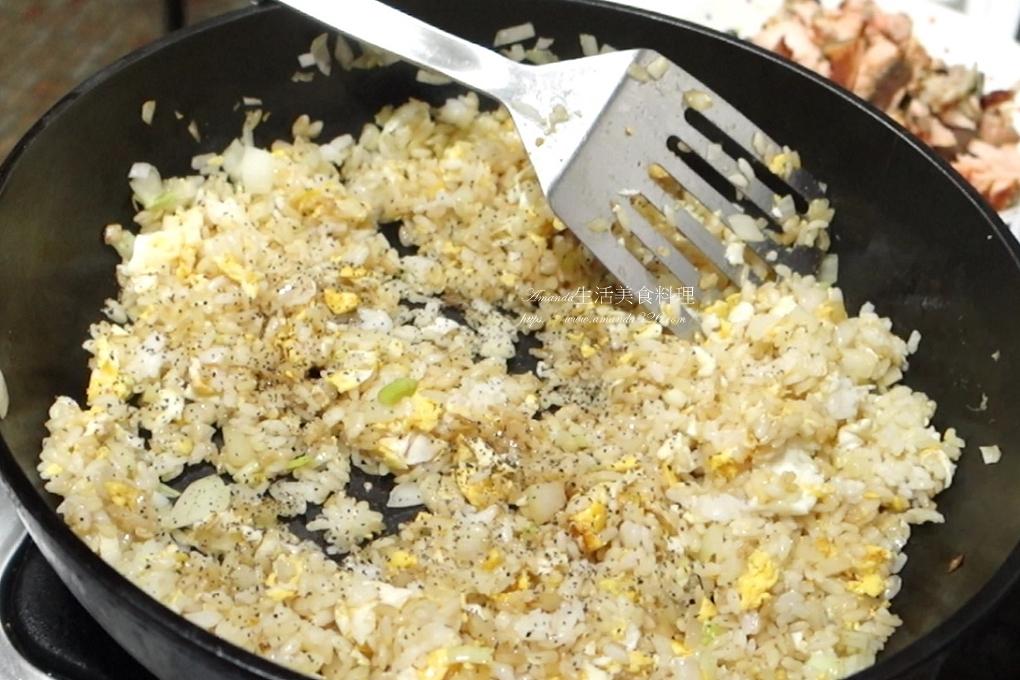 鮭魚炒飯-剩食鮭魚、剩飯變美味佳餚