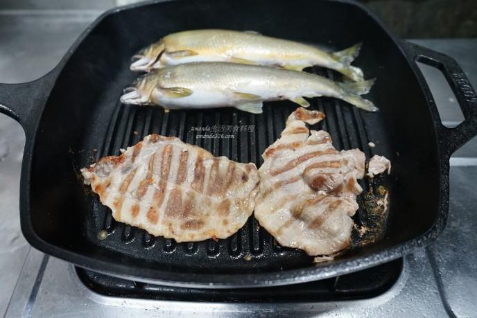 烤肉,烤香魚,鐵鍋烤魚,鑄鐵不沾鍋,鑄鐵鍋