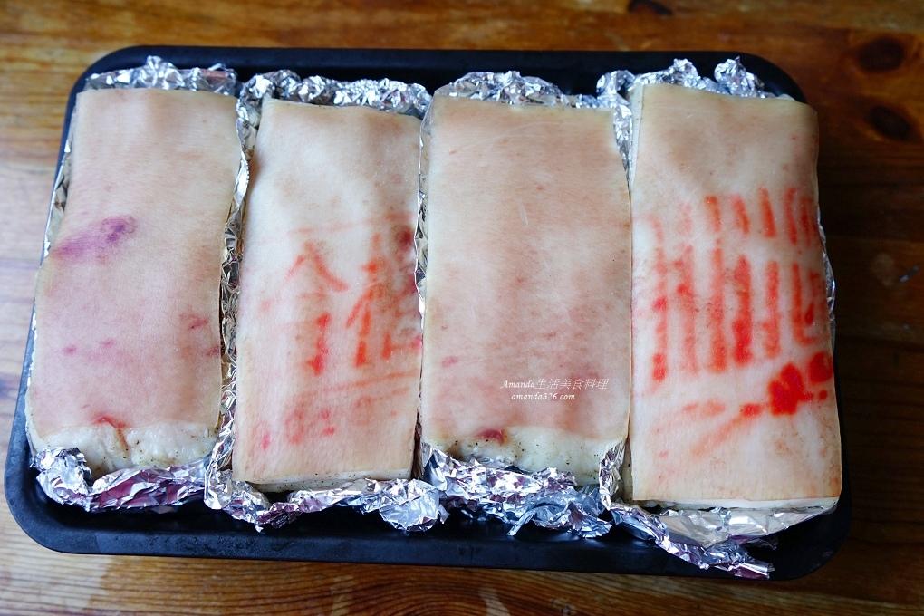 不油炸燒肉,宴客菜,年菜,氣炸料理,氣炸鍋,氣炸食譜,炸五花肉,燒肉,脆皮燒肉,脆皮豬肉,豬五花,蹦皮