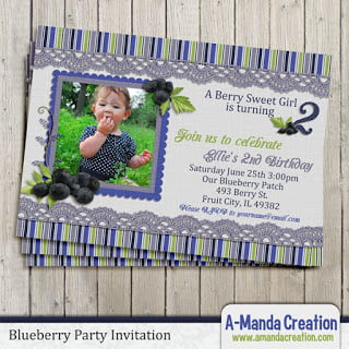 Blueberry Birthday  Invitation and Party Printables
