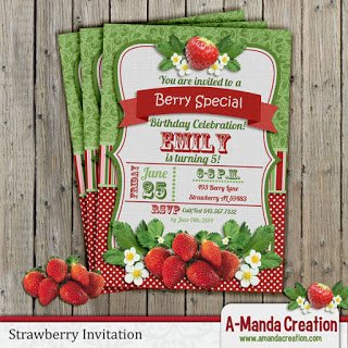 Strawberry Birthday Party Invitation and Printable Bundle