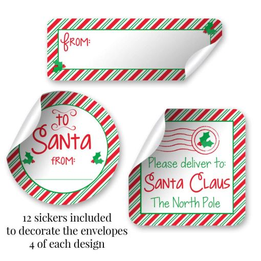 letters to santa red envelopes santa stickers