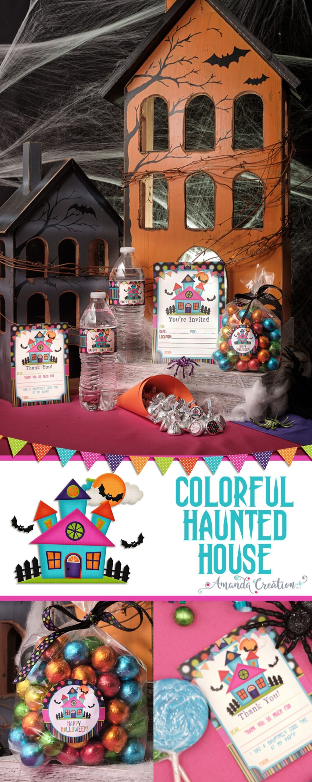 colorful haunted house party supplies
