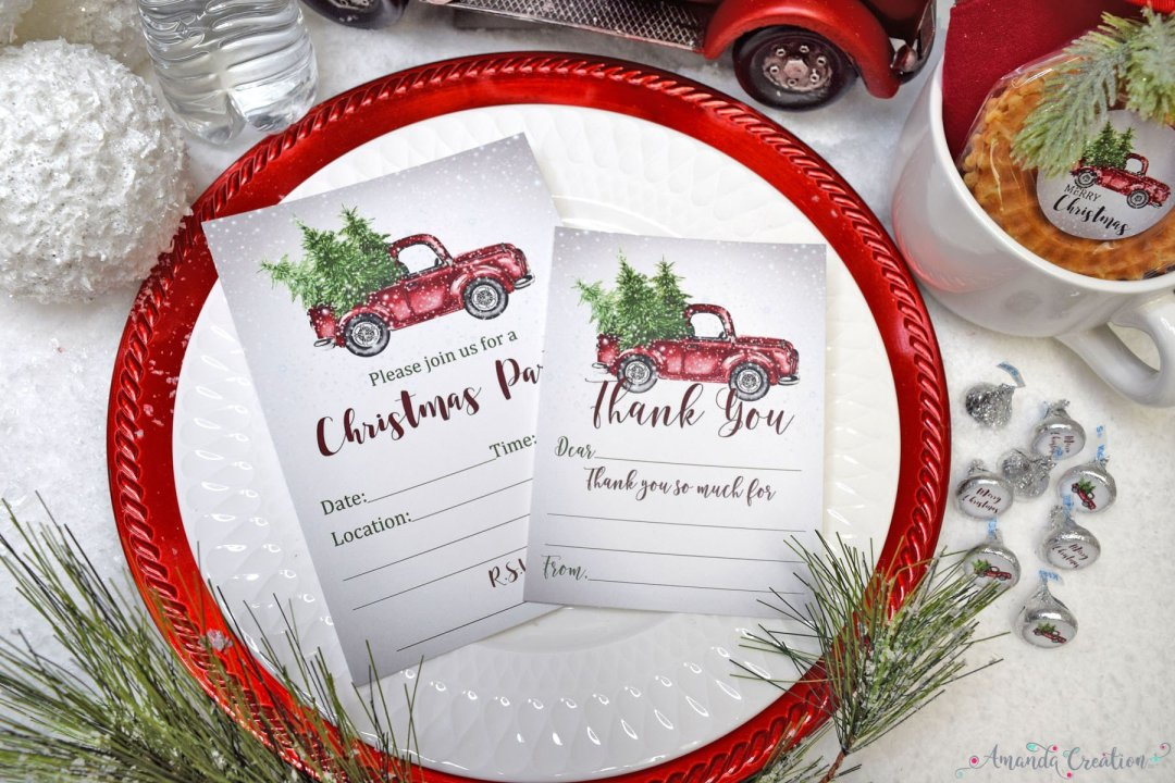Christmas truck invitation and thank you card