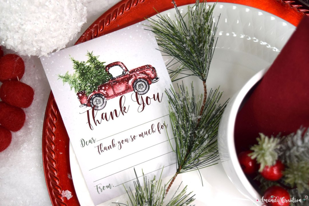 snowy red pickup truck thank you note