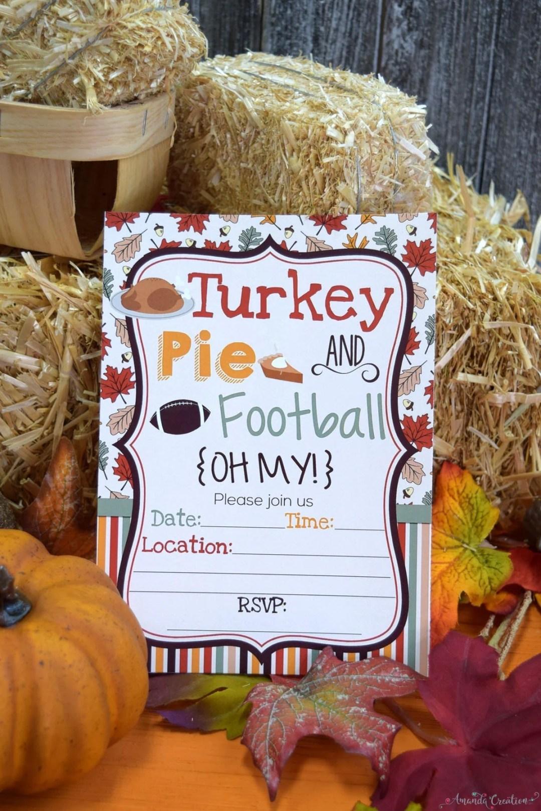 Turkey pie and football oh my invitation