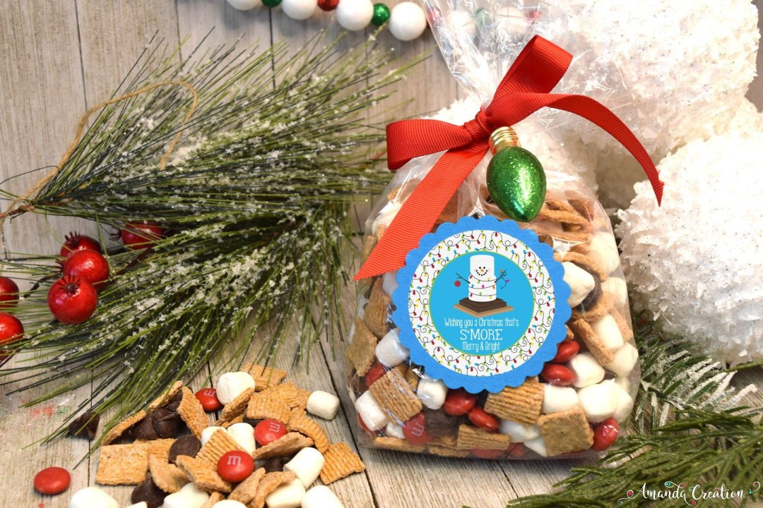 Christmas s'mores gift sticker