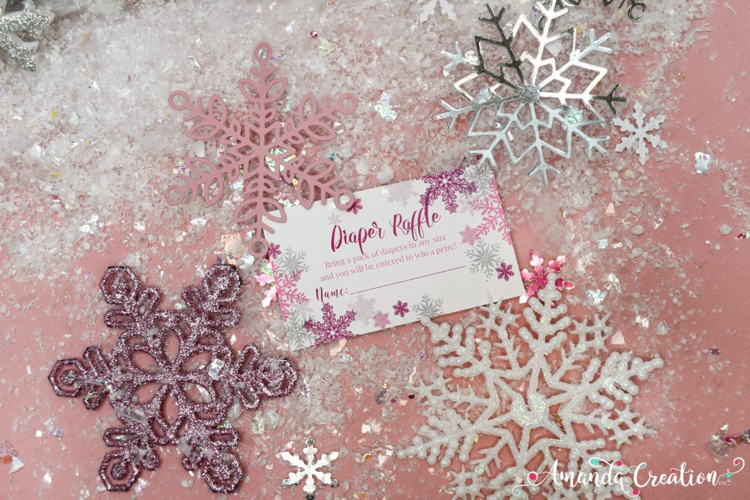 snowflake girl baby shower diaper raffle card