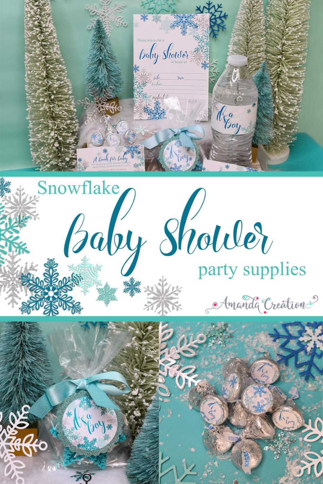 snowflake baby shower party supplies