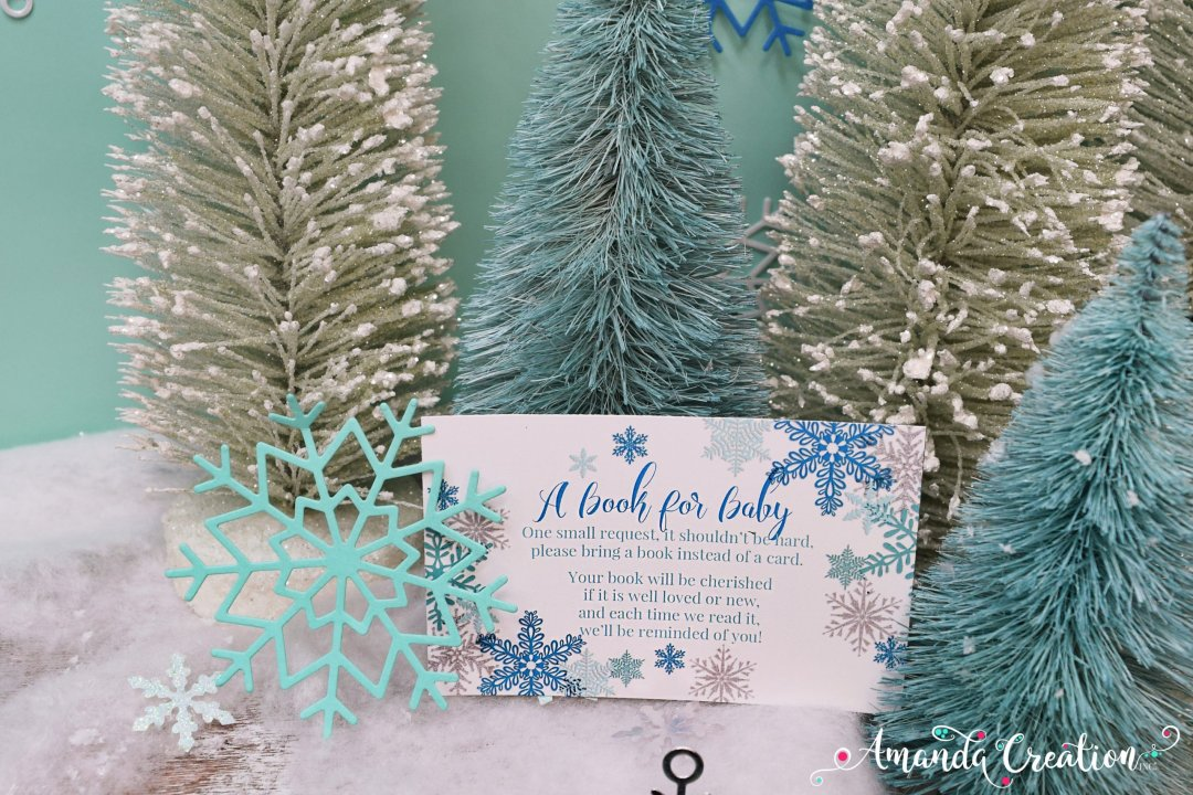 snowflake baby shower book card