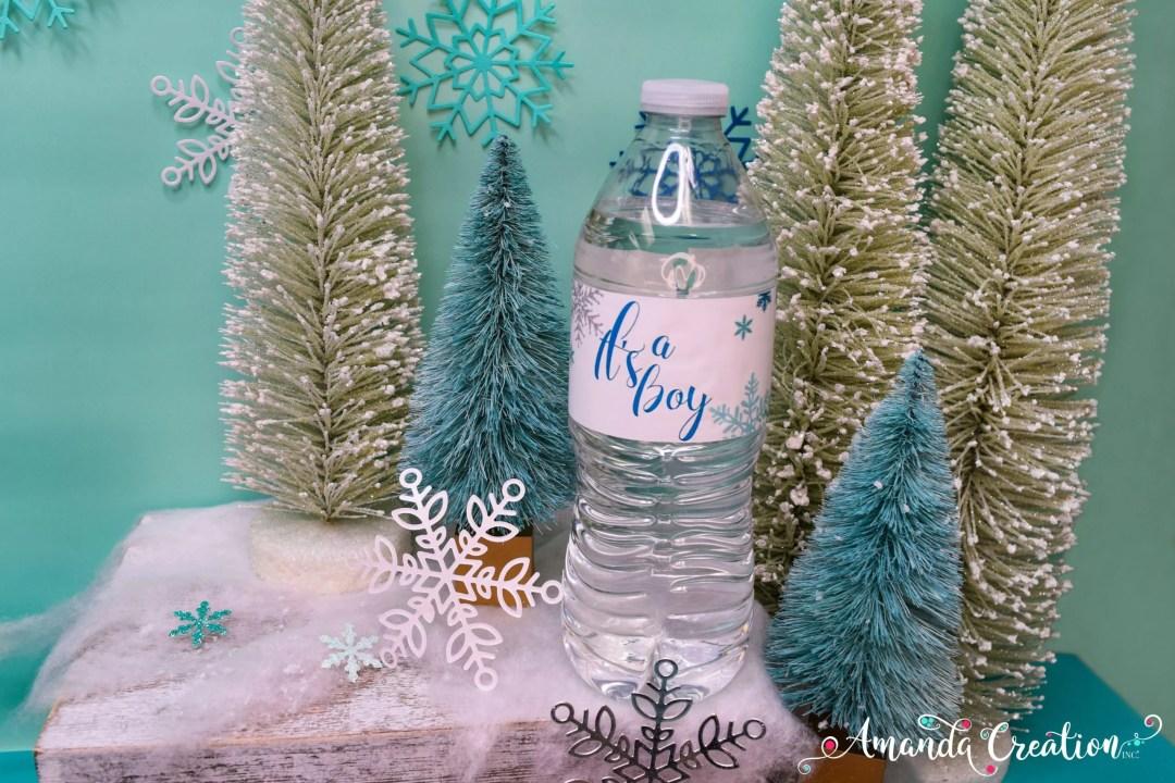 snowflake it's a boy water bottle labels