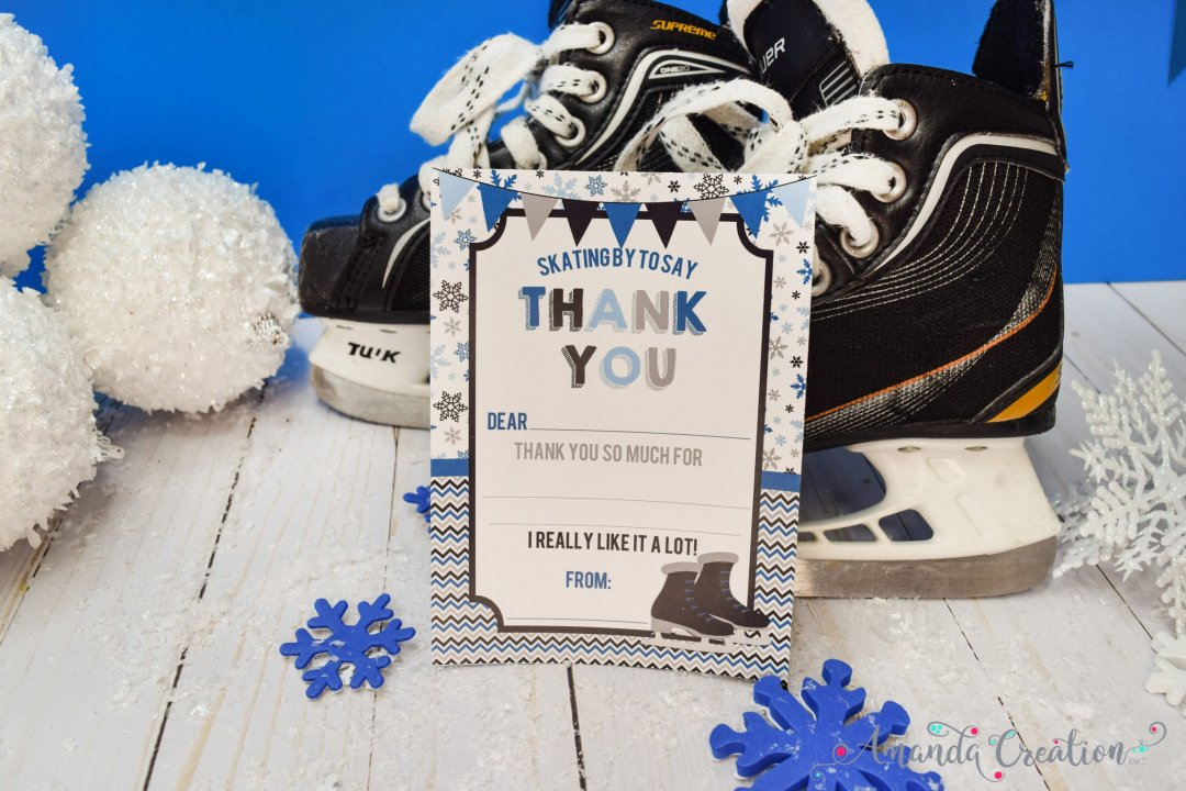 ice skating party thank you card
