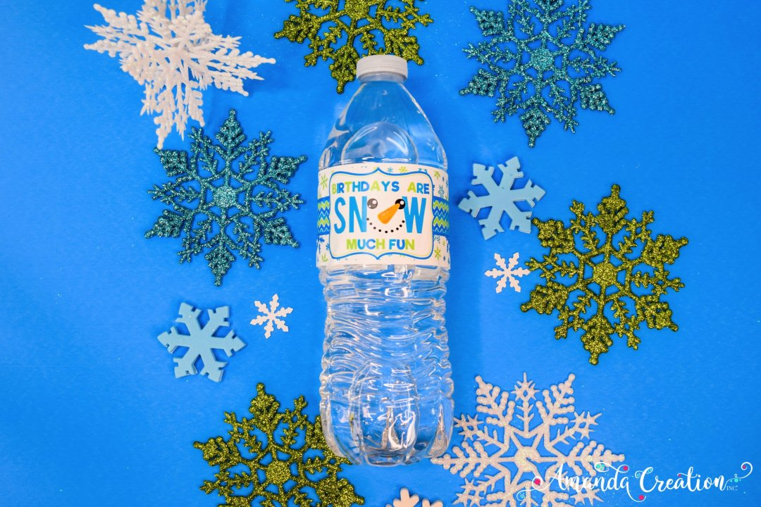 snowman birthday party water bottle label