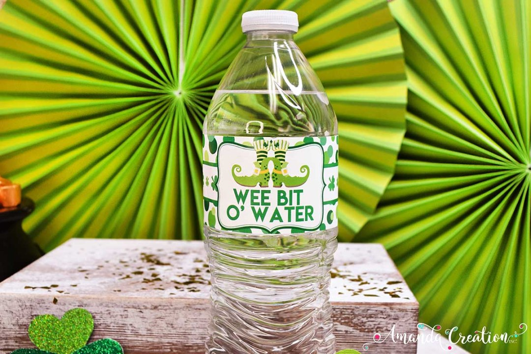 St Patrick's Day Water Bottle Labels