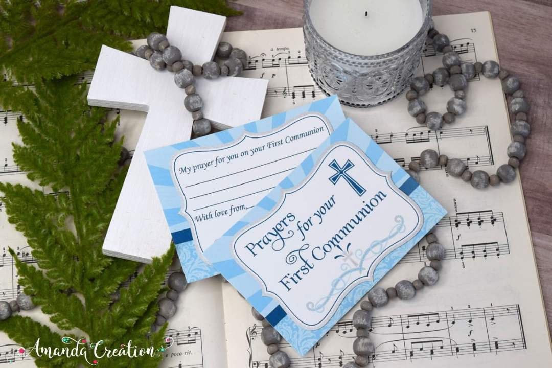 First Communion Prayer Card for a Boy