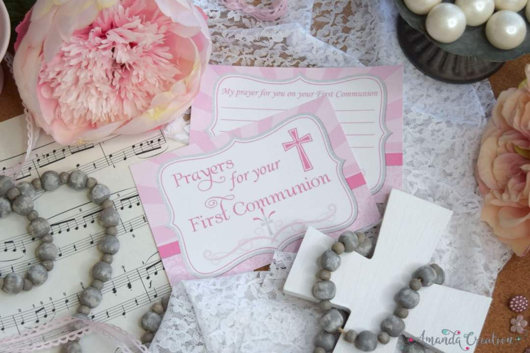 First Communion Prayer Card for a Girl