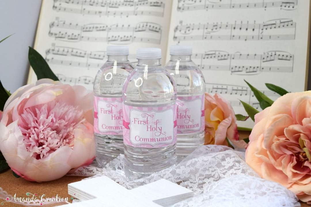 First Holy Communion Water Bottle Labels