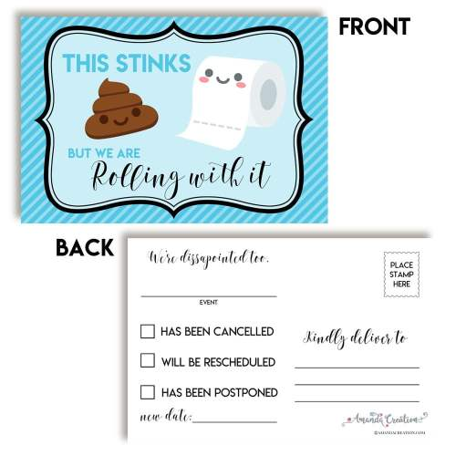 Poop Emoji Change of Plans Postcard