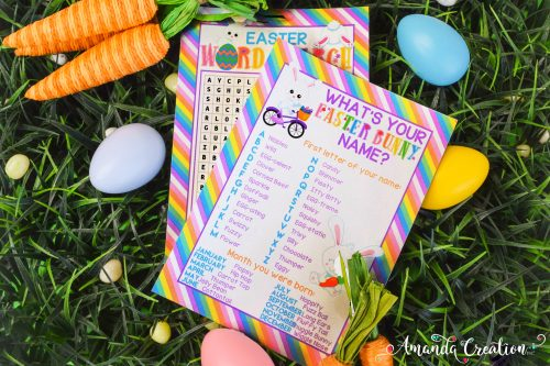 Easter Word Search and Bunny Name Game Cards