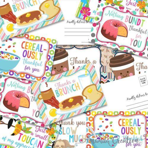 Animal & Food Thank You Postcards