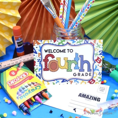 Welcome to 4th Grade Back to School Teacher Postcards