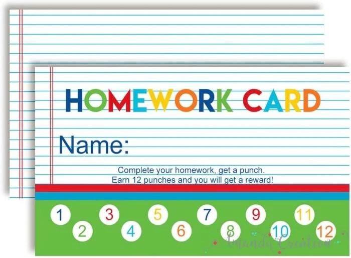 Homework Reward Punch Cards