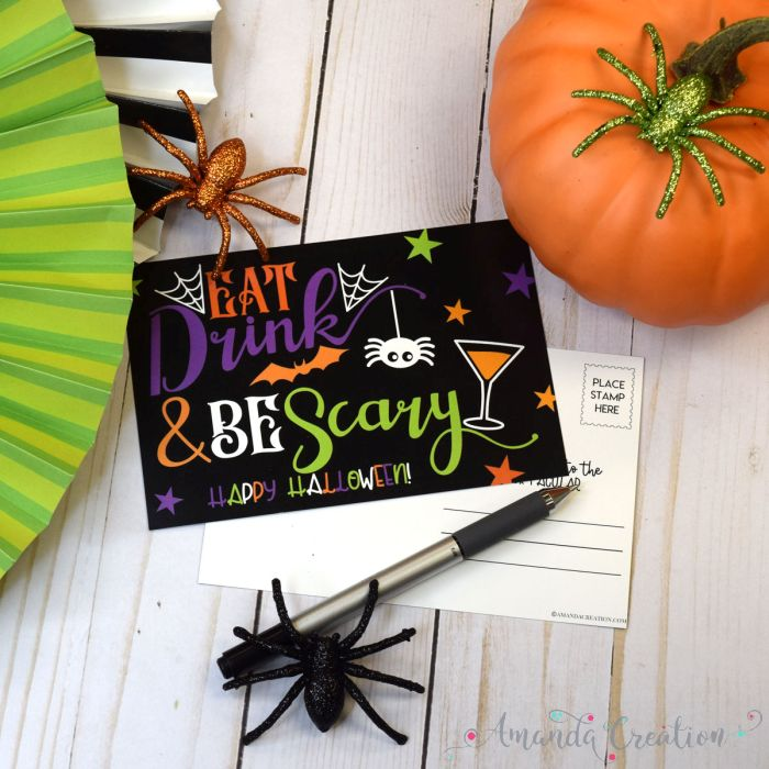 Funny Halloween Eat Drink & Be Scary Postcards