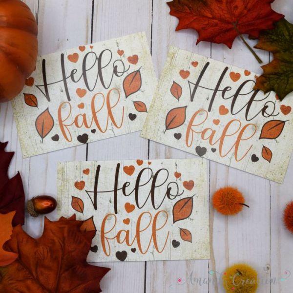Hello Fall! Rustic Autumn Leaves Postcards