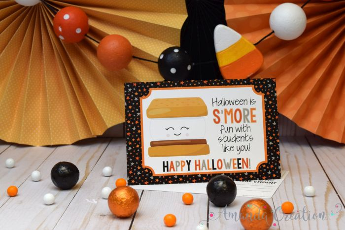 S'more themed Halloween Teacher Postcards