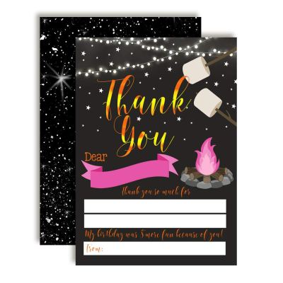 Under the Stars Bonfire Thank You Cards (Girl)