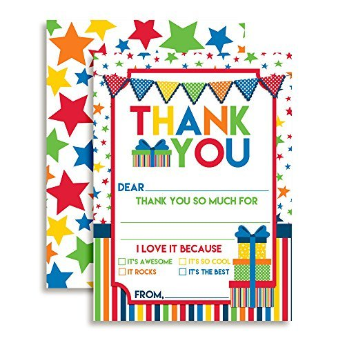 Stars & Presents Thank You Cards (Boy)