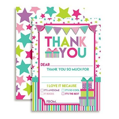 Stars & Presents Thank You Cards (Girl)