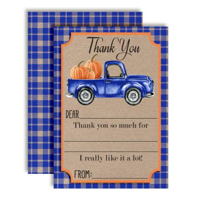 Blue Truck with Pumpkins Thank You Cards