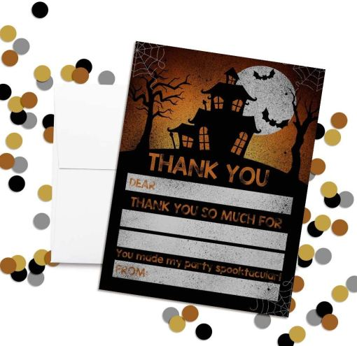 spooky halloween haunted house thank you cards
