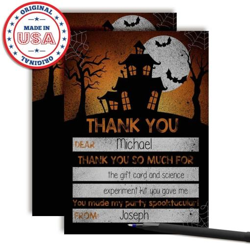spooky halloween haunted house thank you notes