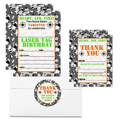 Camouflage Laser Tag Thank You Cards