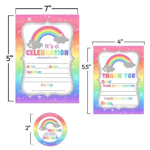 Rainbow Sparkle Thank You Cards