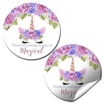 Unicorn Face Floral Party Stickers